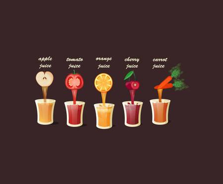 Conjunto de deliciosos zumos naturales Vectores