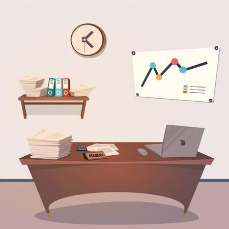 インテリア オフィス ルーム。デザインのベクトル図