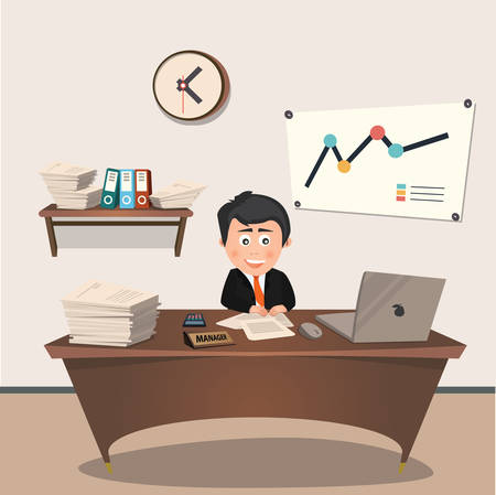 consulting room: Office manager at the workplace, flat design