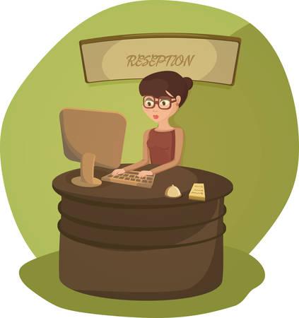 Vrouwelijke receptioniste is een oproep opschrijven info nemen.