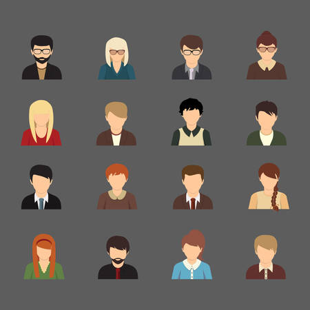 Social networks business private users avatar pictograms Illustration