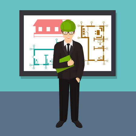Civil professional mechanical science engineering concept flat Vector