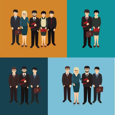 ilustraci�n del hombre de negocios y la mujer que forman equipo Vectores