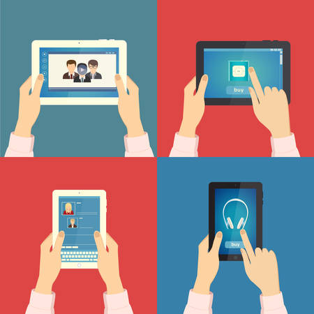 video marketing: Set of hands holding different business objects with tablet. Vector illustration