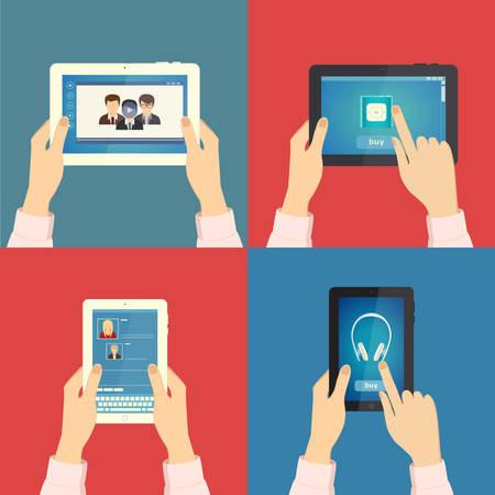 Set van handen met verschillende zakelijke objecten met tablet. Vector illustratie