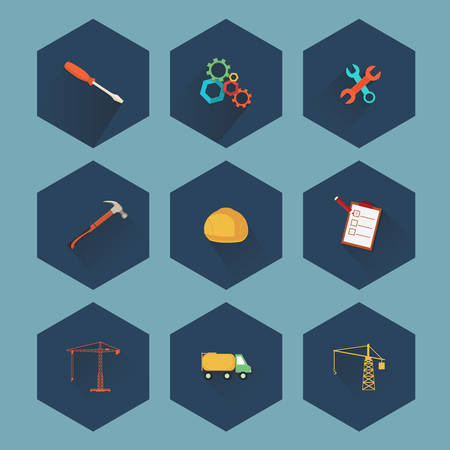 bricklaying: Construction and real estate icon set, vector