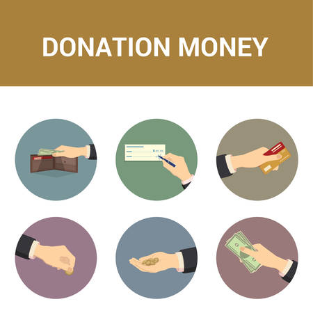 bank check: Colorful icons donations of money, vector illustration