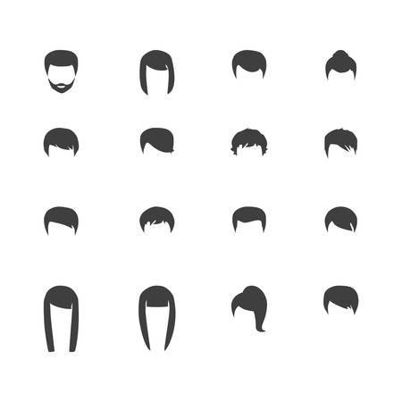 siluetas pelo, mujer y hombre peinado Vectores
