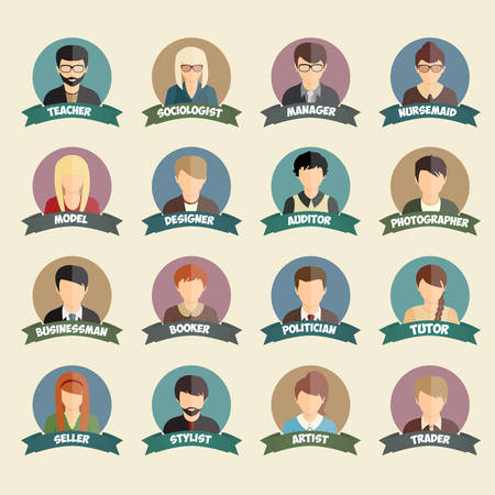 sociologist: Set of colorful profession people flat style icons in circles