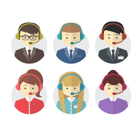 service desk: Call center operator icons with a smiling friendly man and woman wearing headsets on round web buttons vector illustration Illustration