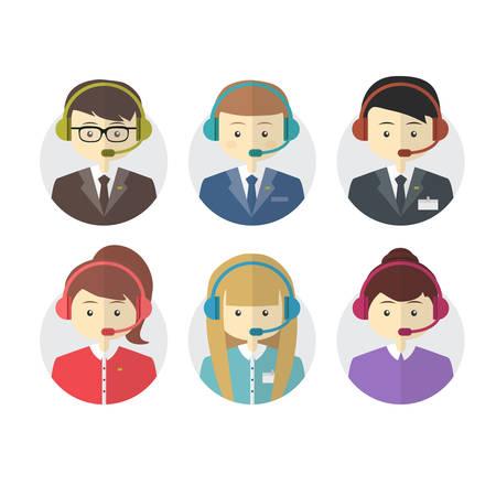 Call center operator pictogrammen met een lachende vriendelijke man en vrouw dragen headsets op ronde knoppen voor het web vector illustratie Stockfoto - 34885053
