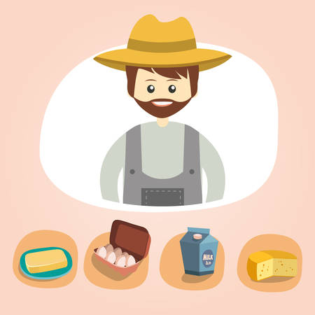 Set of colorful vector farm icons dairy produce illustration, eps 10