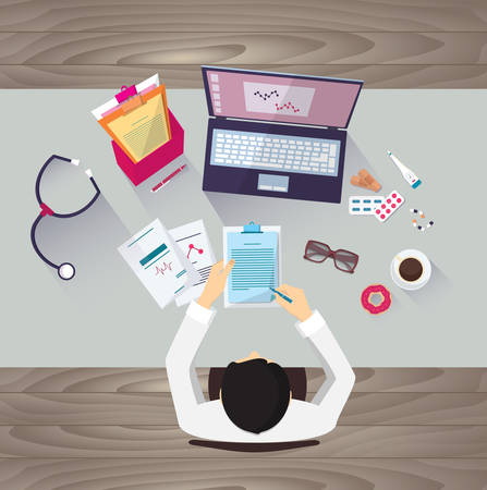 medical clinic: Doctor workplace, vector illustration. Male person in doctors smock sitting at the table in medical clinic. Medicine icons set in flat design style