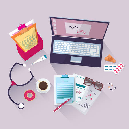 Medical workplace. Flat design, vector illustration icons