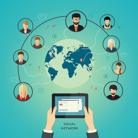 Social media network concept with human hand with tablet avatars and globe on background vector illustration