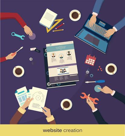 creating: Creating website. Flat design, vector illustration icons Illustration