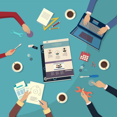 Creating website. Flat design, vector illustration icons Illustration
