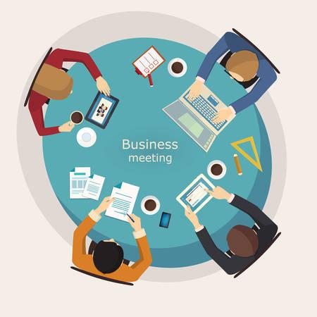 reunion de trabajo: Reunión de negocios y de intercambio de ideas. Diseño plano, vector