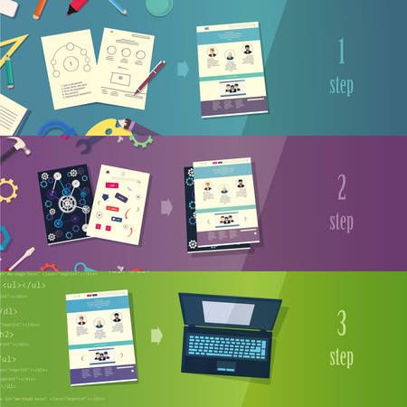 development process: Creative process branding web design development process concept flat icons set  and vector web banners illustration print materials website click infographics elements collection