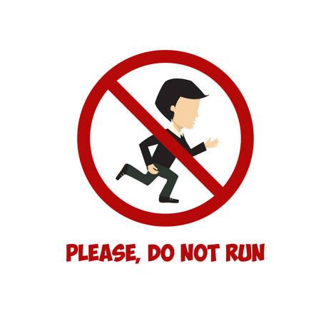 no correr: No hay señales de ejecución, vector plana ilustración