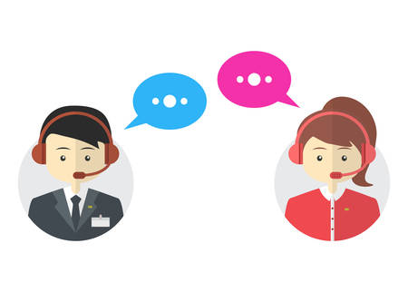 call center female: Male and female call center avatar icons, vector