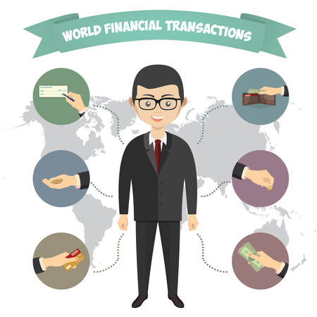 transakcji: Assorted Vector Mode of Payment Types Drawings Isolated on Background. Infographics, a businessman engaged in financial transactions around the world Ilustracja