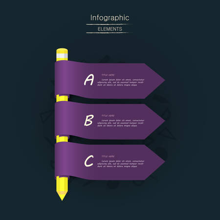 Vector abstract text banner with pencil and ribbons for your creative presentation