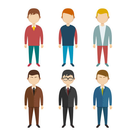 clerks: Set of flat human characters  young men  on white, vector Illustration
