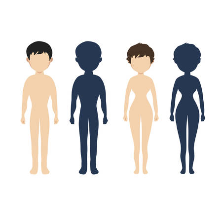 naked female body: Human body  in flat style Vector women, men character