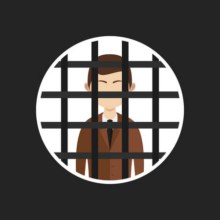 heaviness: illustration of cartoon businessman in prison, vector
