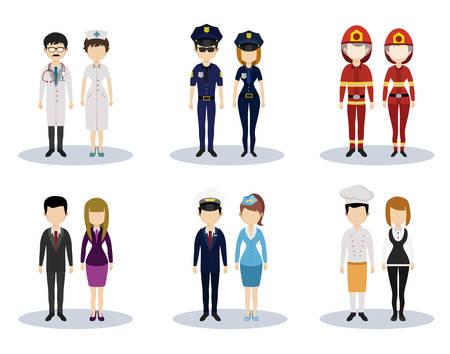 Conjunto de caracteres vector profesional masculina y femenina Ilustración de vector
