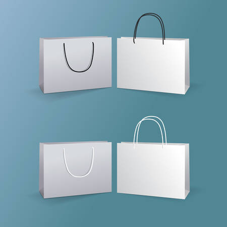 paper bags: white paper bags set isolated on blue background