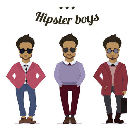 Hipster urban fashion trendy men boys colored sketch character set vector