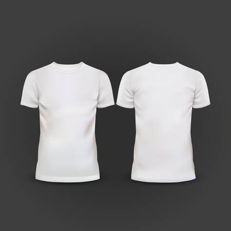 white T-shirt template isolated on black background Vettoriali