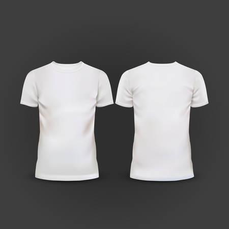 wit T-shirt sjabloon geïsoleerd op zwarte achtergrond Vector Illustratie