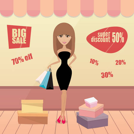 shopping sale: Girl or woman on shopping sale hold bags. Retro style Illustration