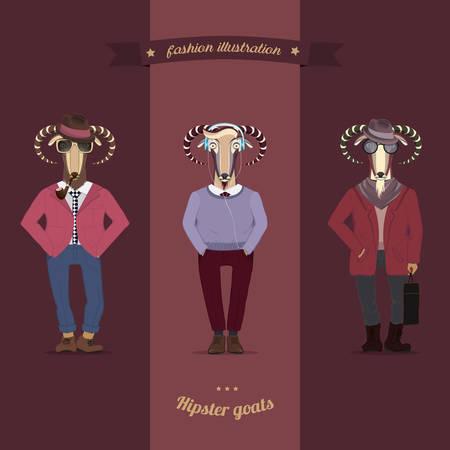 S�mbolos del A�o Nuevo Chino-cabra y oveja en ropa inconformista. Vector Vectores
