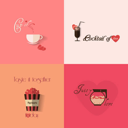 drink me: Valentines day greeting card design with set of cups. Vector