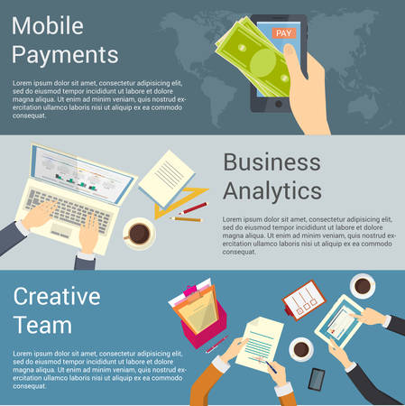 Set of flat design concepts for creative team, business analytics and mobile payments. Çizim