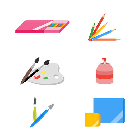flat brush: Painting icons, vector illustration, flat