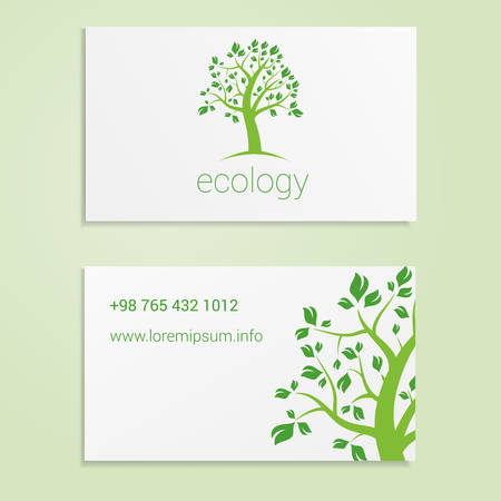 contact details: Ecological or eco energy business card template with green tree. Cutaway and contact details. Illustration