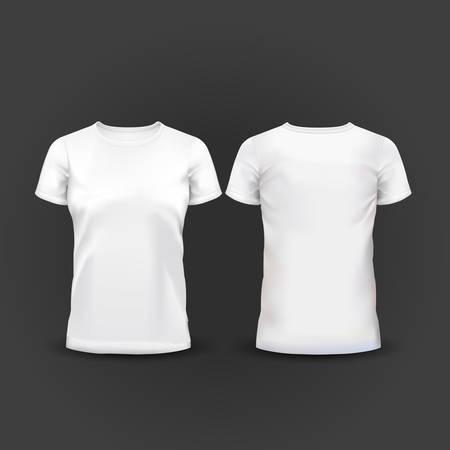 Illustrazione vettoriale di t-shirt donna bianca Archivio Fotografico - 38191247