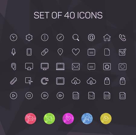 Iconos de l�neas delgadas para Web y M�vil. vector
