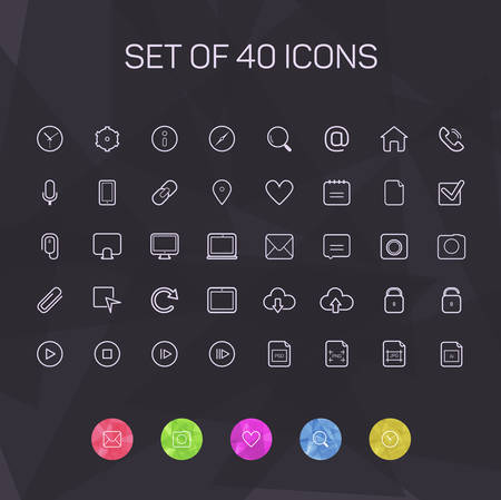 Thin line icons for Web and Mobile. vector