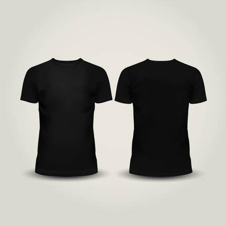 sjabloon: Vector illustratie van zwarte mannen T-shirt geïsoleerde