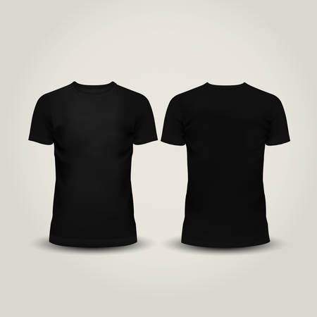 short back: Vector illustration of black men T-shirt isolated Illustration