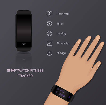 mileage: Health care, bracelet, hand, heart rate, time, locality, mileage, fitness tracker, jogging, pace