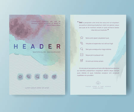 watercolor paper: Booklet, magazine poster, flyer, abstract banner, creative, decorative illustration ,vector, brochure design template,  Watercolor sheet, paper, aquarelle