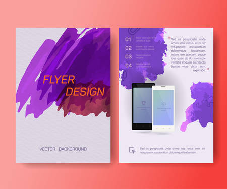 sheet of paper: Booklet, cellular phone mobile phone, magazine poster, flyer, abstract banner, creative, decorative illustration ,vector, brochure design template,  Watercolor sheet, paper, aquarelle Illustration