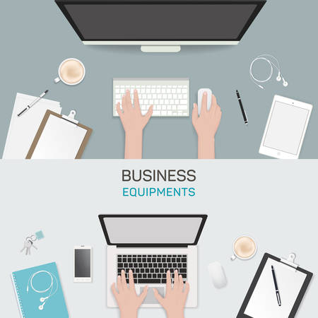 business activity: Office object business activity flat vector illustration freelance